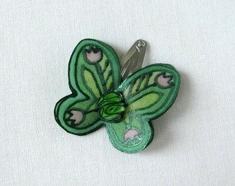 Green silk butterfly hair snap clip -  hand painted silk hair pin - snap pin - green butterfly from hand painted natural silk