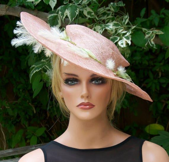 Wedding Hat, Saucer Hat, Derby Hat, Hatinator, Formal Hat, Women's Ladies Hats, Melbourne Cup Hat, Royal Hat, Dressy Hat, Women's Peach Hat