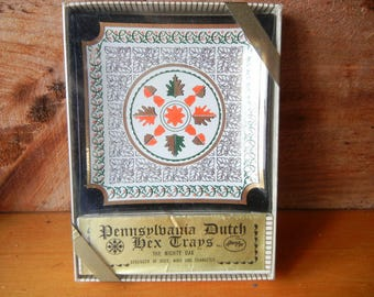 Vintage Pennsylvania Dutch Hex Sign Glass Tray, The Mighty Oak Dish, Houze Trinket Dish, Midcentury Houze, New old stock, Unopened