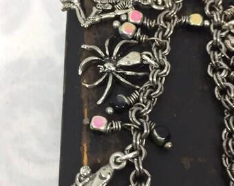 Halloween Charm Bracelet Silver Czech Glass