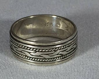 Vintage Sterling Silver Spinner Ring Braided Band Size 8
