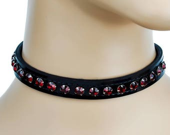 Red Rhinestone on Black Patent Leather Choker Collar Burlesque - Dys-CK247LEATHER-JET