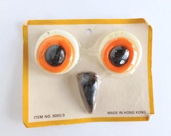 Macrame Owl Eyes and Beak Plastic Beads Set in White, Orange, Brown, and Black