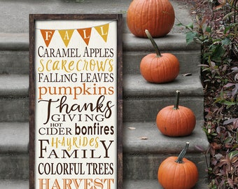 Fall Sign, Autumn Harvest, fall decorations, Thanksgiving Sign, Typography Word Art, Wood Sign framed, Subway Art, Farmhouse, Gallery Wall