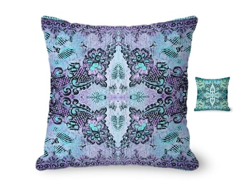 Throw Pillow Cover, boho pillow, bohemian pillow, lacy pillow, floral pillow, decorative pillow, purple pillow, accent pillow, violet pillow