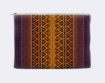 Tribal Cosmetic Bag, purple and orange ombre, toiletry bag, cosmetic pouch, makeup bag, large cosmetic bag, zippered pouch, small clutch