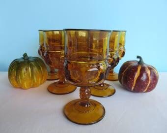 Vintage King's Crown Amber Stem Glasses - Wine Glasses - Goblets - Indiana Glass Company - Set of 6