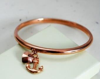Anchor Bracelet, Rose Gold Bangle, Love And Hope, Heart Charm, Anchor Charm, Nautical, Faith, Love, Strength, Travel, Swarovski, Journey
