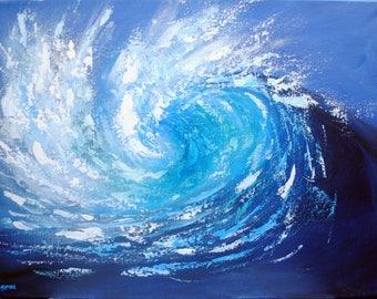 Cornwall Sea Painting, Blue Wave, Cornish Seascape, Ocean Painting, Coastal Art, Big Surf, Blue Seas, Turquoise Water