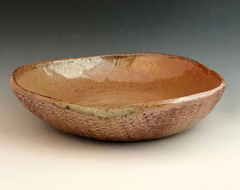 Wood Fired Bowl, Low, Wide Salad Bowl, Earthy Pottery, Textural Stoneware Clay with Honey Cinnamon Colored Shino Glaze, Slab Built Bowl.