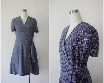 Ditsy Print Wrap Dress L, 1990s Grunge Dress, Floral Dress Large
