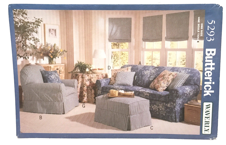 Vintage 90 s Slipcovers Pattern Sofa Slipcover Chair Slipcover