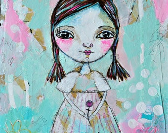 Mixed media collage art print, Whimsical Folk Art Girl, flower, LDS Art,  Christian Art, Primitive art, hope- by Judie Parsons
