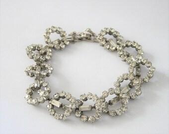 Vintage crystal bracelet. Baguette crystal bracelet. Rhinestone bracelet.  Vintage jewellery