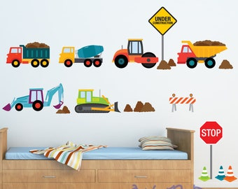 Train Wall Decal, Transportation Wall Decal,  Car Wall Decals, Reusable Decal Non-toxic Fabric Wall Decals for Kids, B102