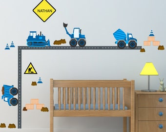 Kids Wall Decals, Construction Trucks Wall Decal,  Nursery Wall Decal, Reusable Decal Non-toxic Fabric Wall Decals for Kids, WD50