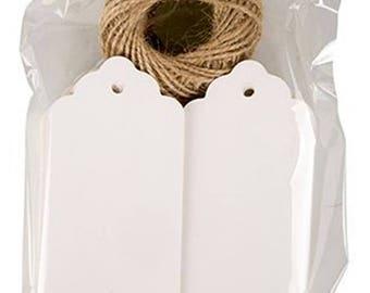 50 Kraft Paper Tags, cards 5x10cm with string. 50 Kraftpapier Etiketten Tags 5x10cm mit Schnur. 50 Etiquetas 5x10cm con cordel.