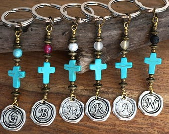 Blue Turquoise Cross Keychain Favors Cross Key Chain Initial Keychain for Women Coworker Gift Custom Keychain Personalized Gift for men