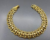 Detailed Chain  Bracelet Gold tone  Art Deco  MCM 8 inches long