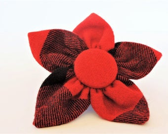 Red/Black Buffalo Check Fabric Clip-on Pet Collar Flower - Holiday Flower for Cat/Dog Collar - Checkered Christmas Pet Collar Accessory