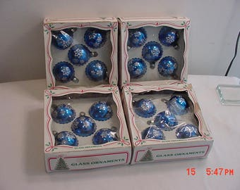 4 Boxes - 20 Total - Blue With Snowflakes Vintage Glass Christmas Tree Ornaments   17 - 972