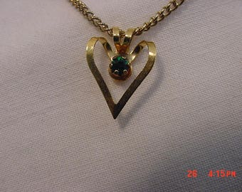 Vintage Green Rhinestone Accented Heart Pendant Necklace  18 - 430