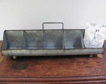 Galvanized Metal Caddy, Galvanized Tote, Painted Your Choice of Color, Party Bar Decor