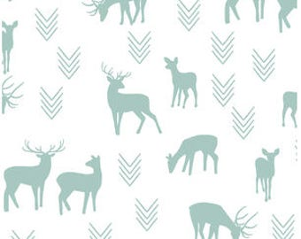 Deer Baby Bedding MINT GREEN Changing Pad Covers /Fitted Crib Sheets / Mini Crib Sheets /Woodland Nursery Bedding /Mint Nursery Crib Bedding
