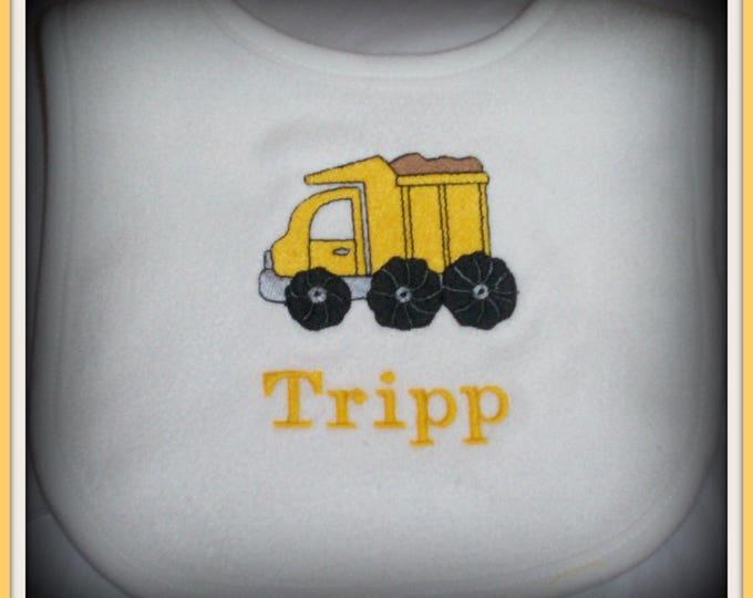 Dump Truck  baby bib personalized - Construction baby boy - Embroider boy baby bib - Truck baby bib - Baby boy bib - construction worker bib