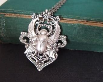 Egyptian revival beetle necklace-mythology-steampunk-Victorian noir-goth,G050