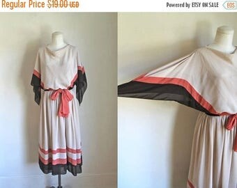 AWAY SALE 20% off 50 Percent OFF...last call // vintage 1970s dress - Fall Harvest chiffon handkerchief sleeve dress / s