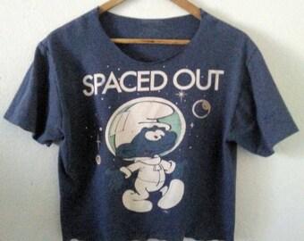 Smurf TShirt / Spaced Out / Crop Top / Half Tee / Graphic Shirt / Cartoon Tee / Indie / Grunge / Rocker Tee / Cute / Classic Cartoon TShirt
