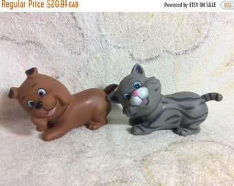 SUMMER SALE Pair of 90s Fakie Kitty and Puppy Surprise Dolls Hard Rubber Toys Kids