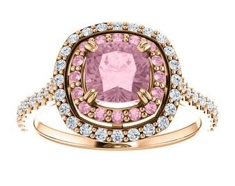 One Carat Mahenge Pink Garnet Diamond Rose Gold Ring