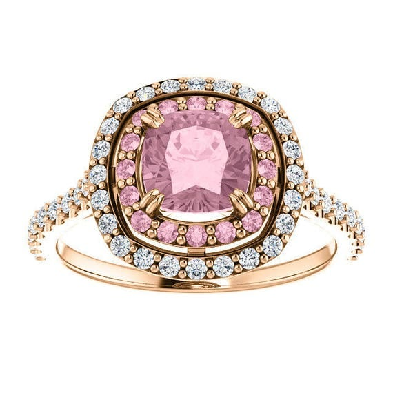 One Carat Mahenge Pink Garnet Diamond Rose Gold Ring