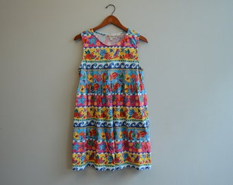 Vintage 90s Fun Summer print Dress Baby Doll Dress By Bechamel