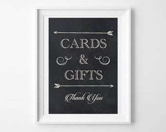 Cards and Gifts Chalkboard Sign, Chalk Sign, Gifts Sign, Cards Sign, Thank You, Digital Download