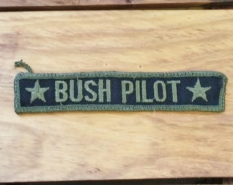 Vintage Patch Military Green & Black Bush Pilot with Stars 60's Military Fashion Collectible Jean Jacket
