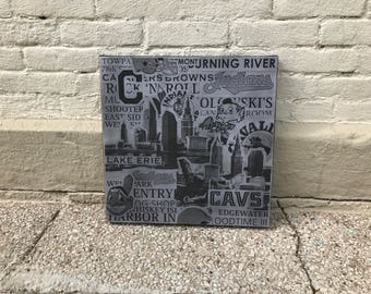 GREY Cleveland Collage Painting No. 04 on Canvas 17 x 17