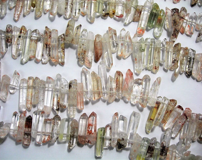 Quartz crystal points - top drilled - 60 pcs mix size - full strand - polished natual quartz with inclusion  - PSC420