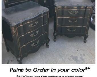 PAINT to ORDER Vintage 3 Drawer Nightstand Pair~ ASCP ~ San Diego
