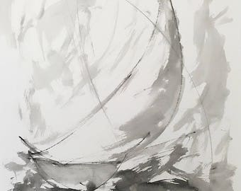 Reserved for C. Do not purchase unless you are C. Sumi Ink Abstract Sailboat -Bay Racing 7