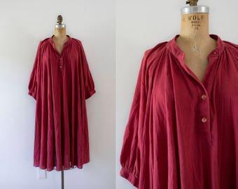 1970s Tuscan Bungalow cotton gauzy tent dress / 70s autumn berry