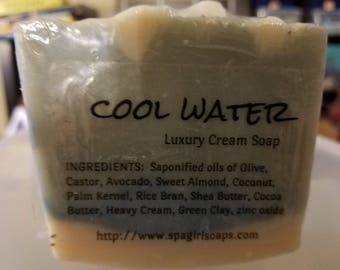 Cool Water Luxury Cream handmade soap (cold process) 4.5 oz with Heavy Cream, shea butter & Cocoa Butter