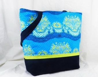 Amy Butler, Medium Shoulder Bag, Blue Tote, Blue and Green, Lark Fabric, Nanna Chic, Medium Tote Bag, Medium Work Bag