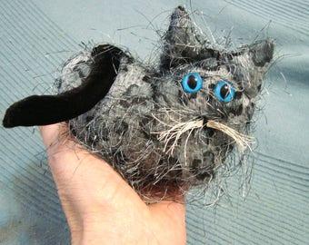 Kitten collectible, spotted stuffed kitten. long haired grey kitten, lavender kitten, kitten sachet, cat paperweight