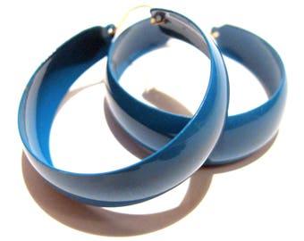 Vintage New Old Stock Blue Enamel Hoop Earrings