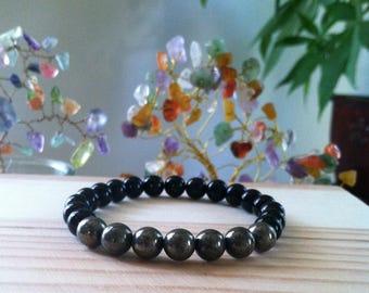 "Handmade Genuine Natural Black Onyx & Pyrite Bracelet, Gemstone Best Protection Stretch Bracelet, Energy Balance Healing 7"" Reiki Bracelet"