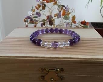 Handmade Genuine Purple Amethyst Bracelet, Natural Amethyst Gemstone Stretch Bracelet,Meditation Healing Crystal Balance Amethyst Bracelet
