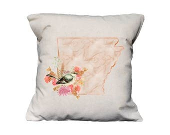 AR Watercolor Floral State Pillow   Cotton Canvas Pillow   Pillow Form Included